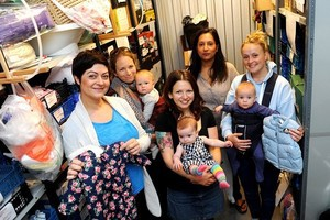Baby Bank at Big Yellow Self Storage Company, Barrow Road, Avonmead, which collects unwanted kids clothes to distribute to needy families, has been inundated with donations in its first two weeks. It now needs to find bigger premises. Pegah Esmaidi, Melissa Burgers, Becky Gilbert, Esa Fernandes, Suzy Harris 29/07/15 Photographer: Jon Kent Reporter: Copyright: Bristol News and Media